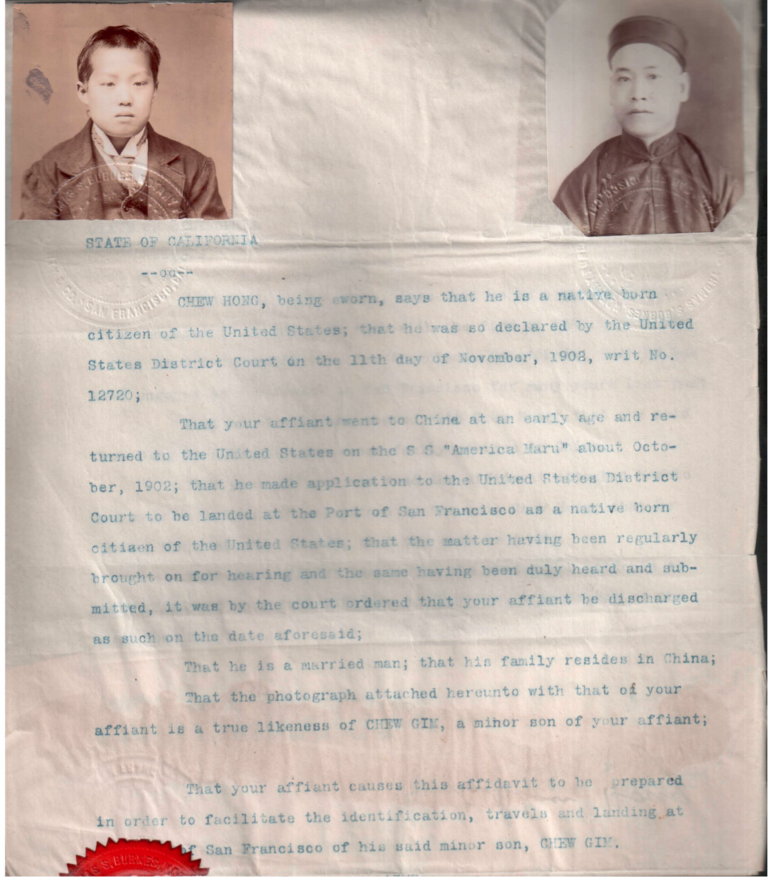 Affidavit of Chew Hong regarding his status and his son's identity