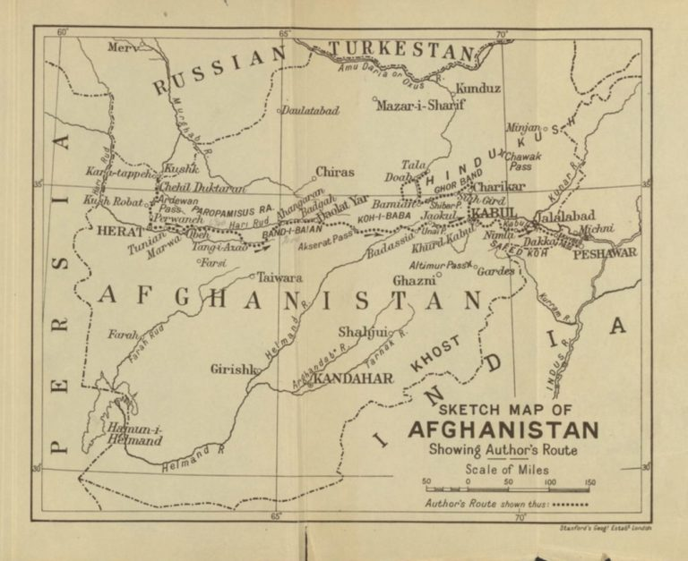 "Emil Trinklers ""Sketch Map of Afghanistan Showing Authors Route"""