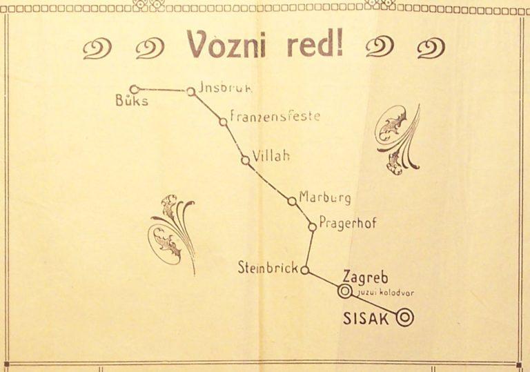 """Vozni red!"" – pap shows stops with contemporary Croatian spellings in the Habsburg empire: Sisakk, Zagreb, Steinbrick, Pragerhof, Marburg, Villah, Franzensfeste, Insbruk, Būks"